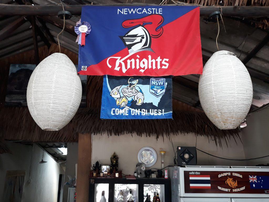 Newcastle Knights Flag at Bar